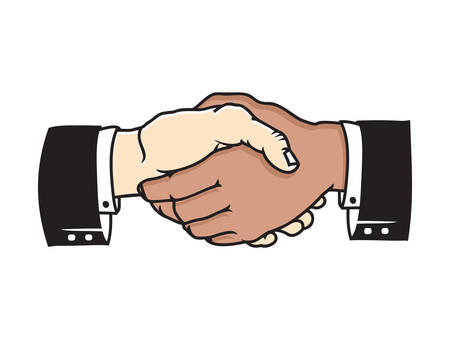 multicultural: Multicultural business handshake vector icon