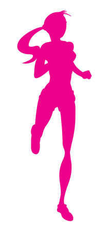 woman run: Vector illustration of the running girl