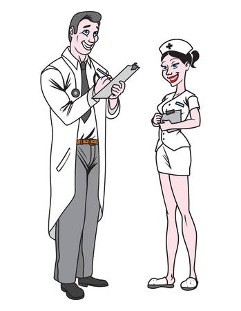 nurse uniform: Vector illustrations of the nurse and doctor Illustration