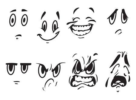caras graciosas: Ilustraciones del vector de las expresiones de la cara