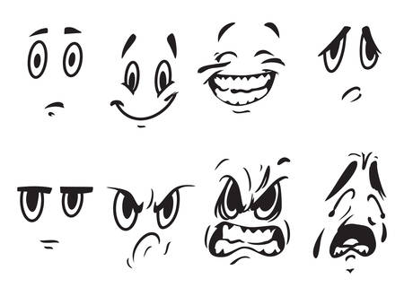 smiling faces: Vector illustrations of the face expressions