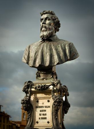 The monument of Benvenuto Cellini in Firenze on the Ponte Viecchio