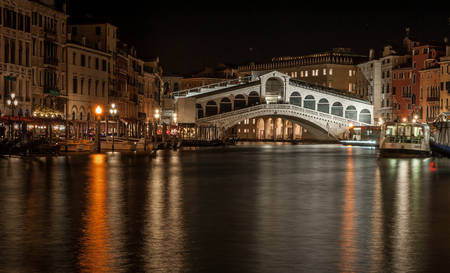 a long exposure of the Ponte di Rialto by night