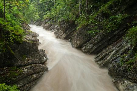 Rettenbach river (Salzkammergut, Austria) after heavy rainfall in summer Stock Photo
