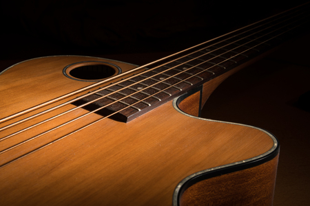 Closeup of a brown accoustic bass low key