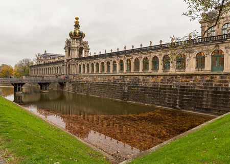 rococo: Kronentor of Zwinger in Dresden Germany in autumn cloudy sky Editorial