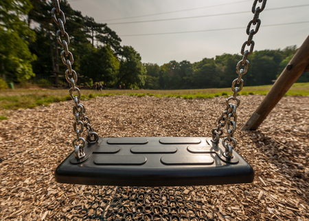 play the old park: Closeup of a swing in a childrens playground meadow in the woods