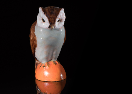 Closeup of a small porcelain owl standing on a black reflective surface