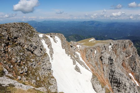 Schneeberg Austria on a partly cloudy day in spring Stock Photo