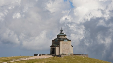 Elisabethkirchlein Schneeberg Austria on a partly cloudy day in spring