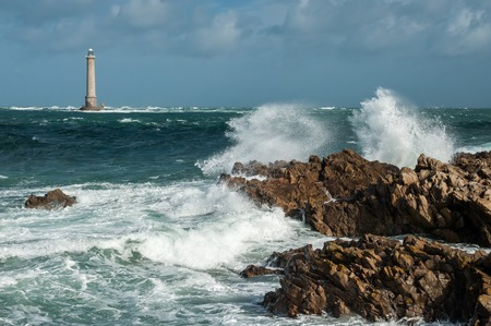 Phare du cap de la Hague, Goury Normandy France on a stormy day in summer Stock Photo
