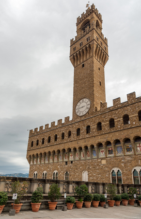 Palazzo Vecchio in Florence (Italy) on a cloudy day in autumn Stock Photo