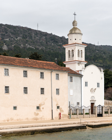 Saint Paul Monastery in Cres (Croatia) on a cloudy day in spring