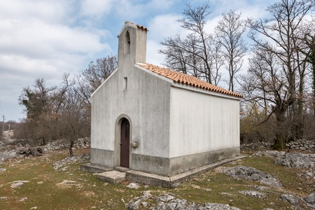 Small chapel near Beli (island Cres, Croatia) on a cloudy day in spring