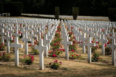 Cemetery outside of the Douaumont ossuary near Verdun France. Memorial of the soldiers who died on the battlefield during the Battle of Verdun in World War I Imagens