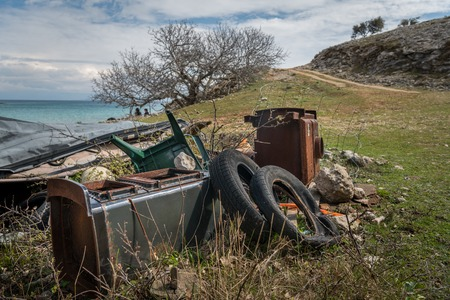 Old rubbish near the beach of Verin, Island Cres, Croatia