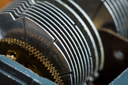 Detail of an old rotary variable capacitor used in a radio
