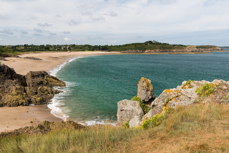 Coast near Saint-Malo (Brittany, France) on a cloudy day in summer