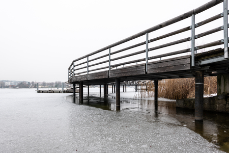 Public bathing place in winter, frozen water (Vienna, Austria)