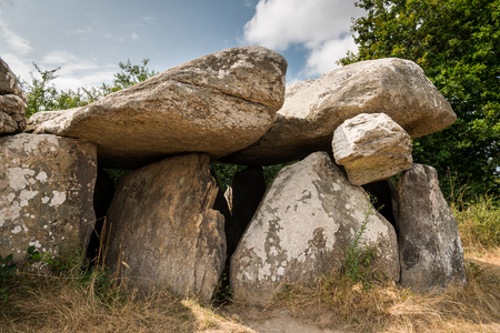 The Dolmen de Kerbourg (Saint-Lyphard, France) on a sunny day in summer. These megaliths are about 6000 years old.