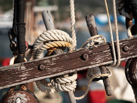 Closeup of the rigging of an old boat on a sunny day