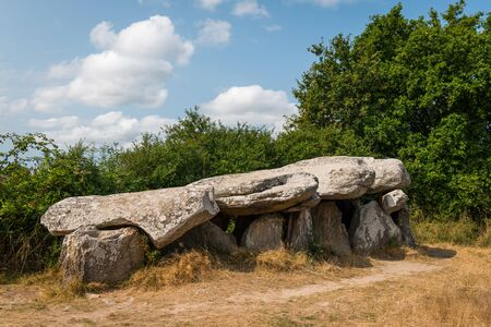 a megalithic tomb on a sunny day standing near Saint Lyphard (France)