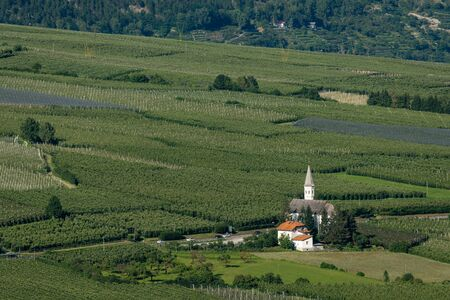 Church Maria Lourdes of Laas (South Tyrol, Italy) from above on a sunny day in summer