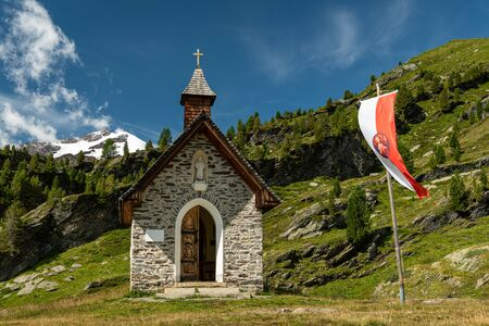Small chapel near Zufallshuette in Martell valley (South Tyrol, Italy) on a sunny day in summer
