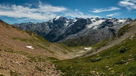 Panorama of the Ortler Alps near Stelvo Pass (South Tyrol, Italy) on a sunny day in summer Reklamní fotografie