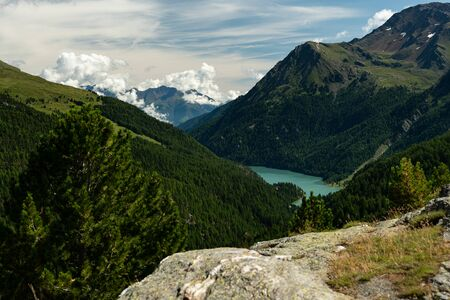 Martell valley and lake Zufrittsee (Southy Tyrol, Italy) on a sunny day in summer Фото со стока