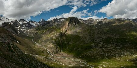 Panorama of Martell valley in South Tyrol (Italy) on a partly cloudy day in summer, Koenigspitze, Gran Zebru