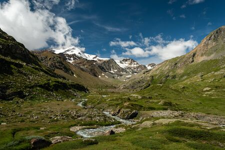 Martell valley in South Tyrol (Italy) on a sunny day in summer, Monte Cevedale