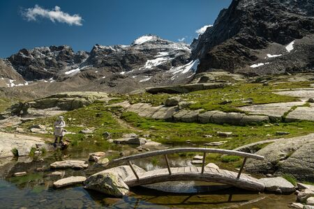 Small pond near Duesseldorfer Huette in the Ortler Alps (South Tyrol, Italy)
