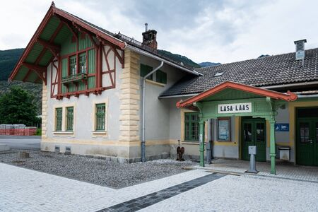Railway station of Laas (South Tyrol, Italy) on a cloudy evening in summer Stock fotó