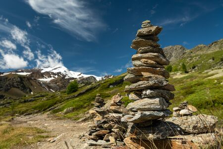 Stacked stones in Martell valley in South Tyrol (Italy) on a sunny day in summer Stock fotó
