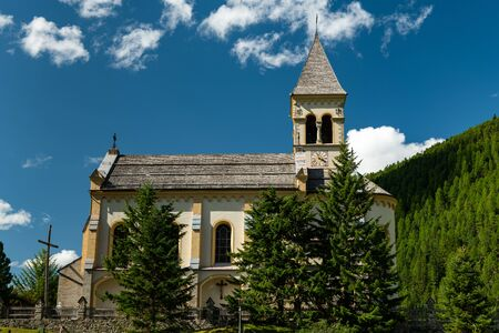 The church of Sulden (South Tyrol, Italy) on a sunny day in summer