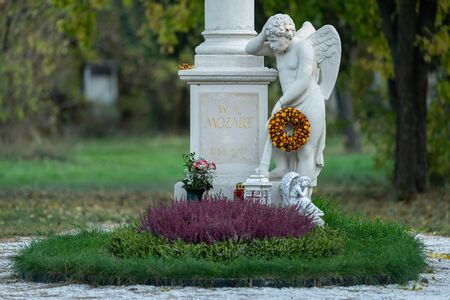 The gravestone of Wolfgang Amadeus Mozart in St. Marx Cemetery (vienna, Austria). This is the original place where the famous Austrian composer was buried.