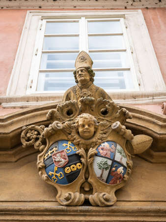 Ornaments, sculptures on an old house in Prague Stock fotó