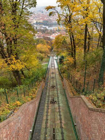 Nebozizek inclined railway station in Prague (Czech Republic), colored leaves in autumn