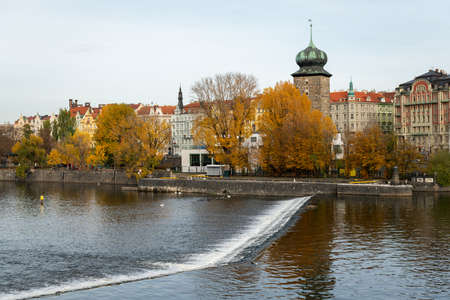 Water tower near river Vltava in Prague (Czech Republic) on a cloudy day in autumn Stock fotó