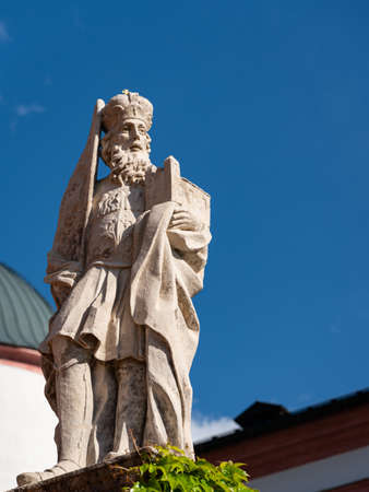 Statue in front of Basilica of the Birth of the Virgin Mary in Mariazell (Austria) Redakční