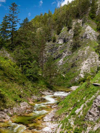 Schleierfall in the Oetschergraeben Gorge in Austria on a sunny day in springtime. The crossing of the Oetschergraeben is one of the most popular hiking tours in the Mariazell region.