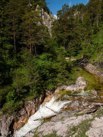Mirafall in the Oetschergraeben Gorge in Austria on a sunny day in springtime. The crossing of the Oetschergraeben is one of the most popular hiking tours in the Mariazell region.