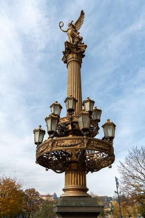 Old historic candelabra in Prague on a sunny day in autumn Sajtókép