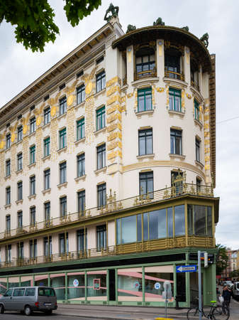 Vienna, Austria - June 18, 2020: The house on the Linke Wienzeile 38 built by Otto Wagner is known for its spectacular corner solution, which is in the shape of a quarter circle.