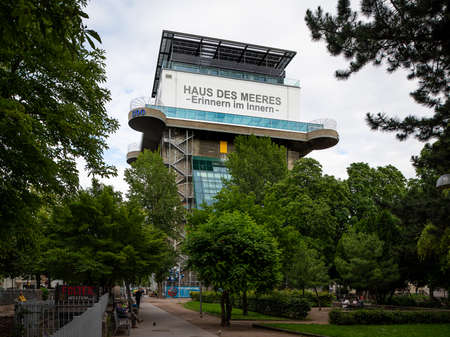 Vienna, Austria - June 25, 2020: The zoo Haus des Meeres located in an anti aircraft tower of World War II. This zoo has a focus on marine aquariums and terrariums. Sajtókép