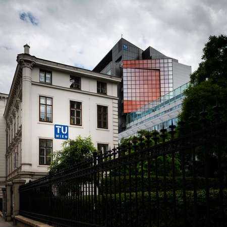Vienna, Austria - June 18, 2020: Institute building of the Vienna University of Technology on a cloudy day in summer
