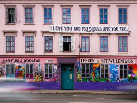 Vienna, Austria - June 18, 2020: The Rosa Lila Villa in Mariahilf (Vienna) is an Austrian lesbian, gay and transgender center.
