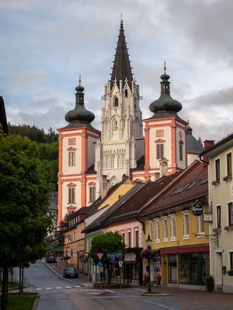 Mariazell, Austria - June 12, 2020: Basilica of the Birth of the Virgin Mary in Mariazell (Austria). This is the most important pilgrimage destination in Austria and one of the most visited shrines in Europe. Sajtókép