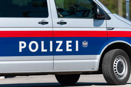 Vienna, Austria - June 18, 2020: Car of the Austrian police on a sunny day in summer Editoriali